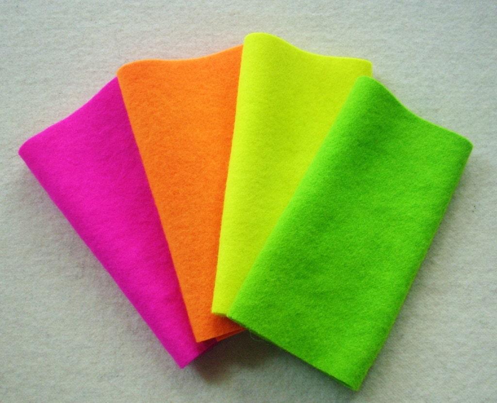 Hand Dyed Wool Felt, FLUORESCENT Medley, Four 65 x 16
