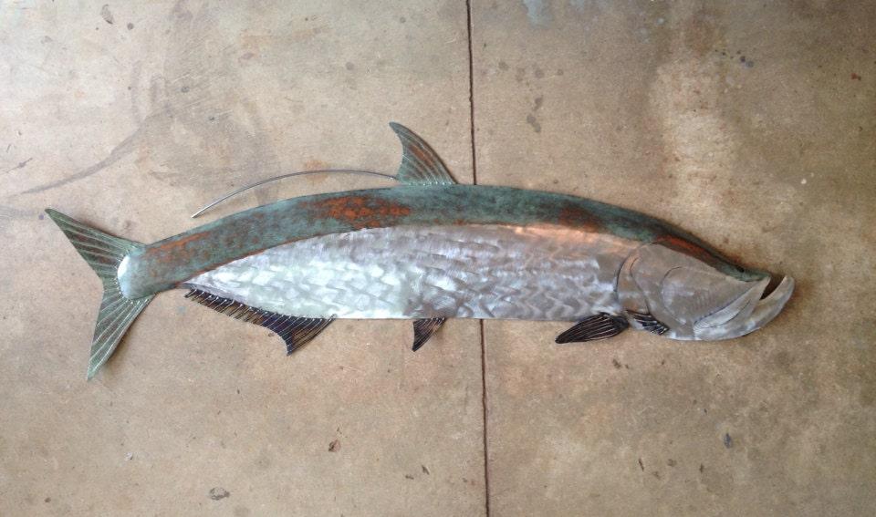 Tarpon fish tropical coastal beach metal 60in wall sculpture for Metal fish art