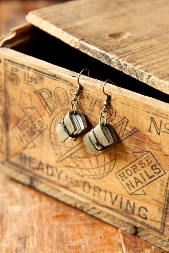 Green Mini Journal Earrings - Mini Book Jewelry