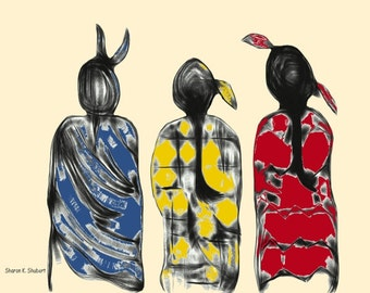 Native American Inspired Art, Women Tribal Ladies, Southwestern Digital Painting, Wall Hanging, Blue Red Yellow, Home Decor, Giclee Print