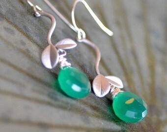 Green Onyx  Teardrops Earrings. Green Sterling Silver Gemstone Dangling Earrings. Holiday Jewelry.