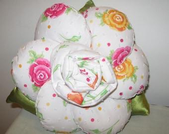 Vibrant Rose Patterned Rose / Flower Cushion