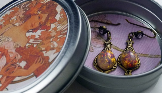 Vintage Victorian Inspired Antique Gold Opal and Amethyst Rhinestone Earrings with Free Gift Tin