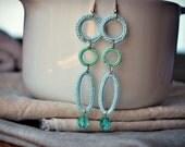 Crochet Earrings Light Baby Blue. Beaded Boho. Lightweight Summer Jewelry.