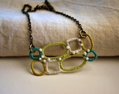 Stylish Bib Necklace in Green, Yellow and Aqua. Lightweight Beaded Crochet Jewelry. Pastel Colors