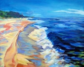 Beach Print on 8.5 x 11 Paper - from Lake Michigan original oil painting by artist Christi Dreese