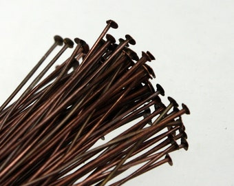 100 Antique Copper FLAT headpins Head Pins T Pins - 2 inch (50mm) 24Gauge 24G - from California USA