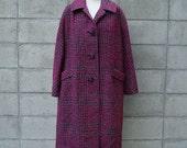 Vintage 1960s Tweed Coat Jacket Overcoat Vibrant Magenta Gray Black