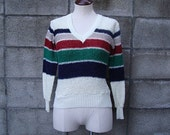 Vintage 1970s Stripe V neck Sweater