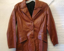 Leather Jacket Coat Vintage 1970s Rust  Brown Blazer