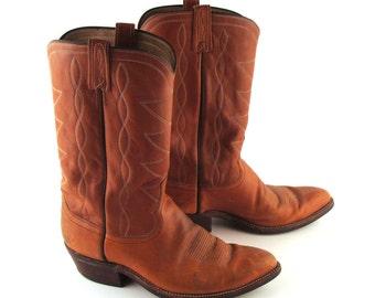 Cowboy Boots Vintage 1970s Men's Carmel Brown Leather Dan Post  size 11 RR001