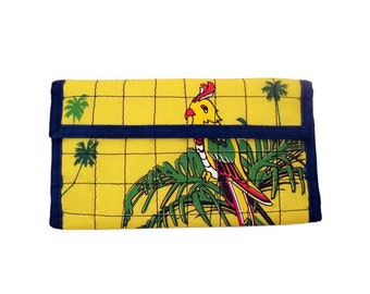 Velcro Checkbook Wallet Vintage 1980s Parrot Graphic Screenprint Quilted Nylon Yellow