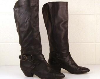 Vintage 1970s Boots 9 West Black Leather High Heel size 6 1/2