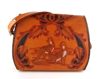 Tooled Leather Purse Vintage 1970s Cats Leopard