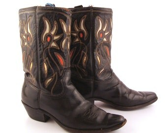 Inlay Cowboy Boots Vintage 1950s  Acme Black 50s Leather Men's 9