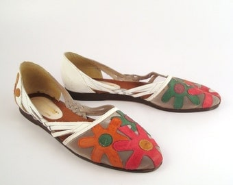 Ellemenno Flat Sandals Vintage 1980s Leather Flowers Women's 8