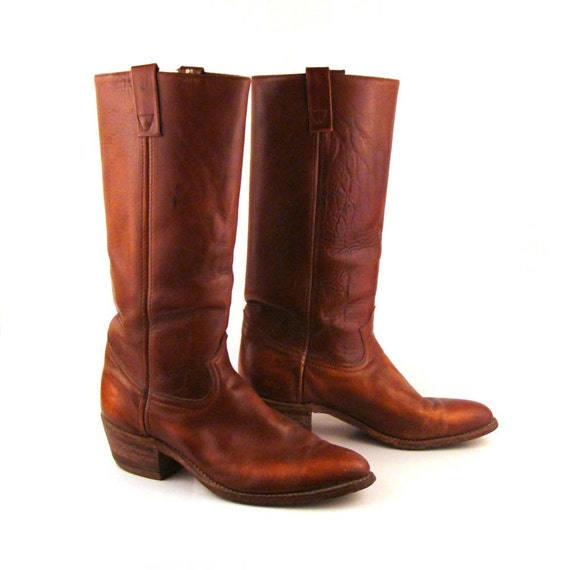 Tall Cowboy Boots Vintage 1970s Mens Durango West Carmel Whiskey Brown Leather  11