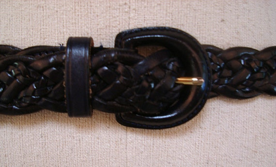 Braided Leather Belt Vintage 1980s Talbots Leather Belt Woven Navy