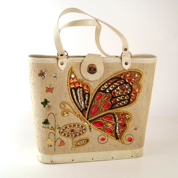 Jeweled Purse Butterfly Vintage 1960s
