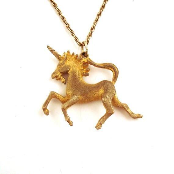 Vintage 1980s Unicorn Necklace