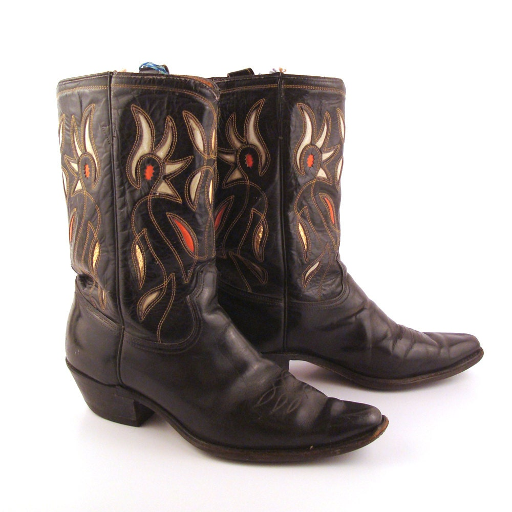 inlay cowboy boots vintage 1950s acme by purevintageclothing