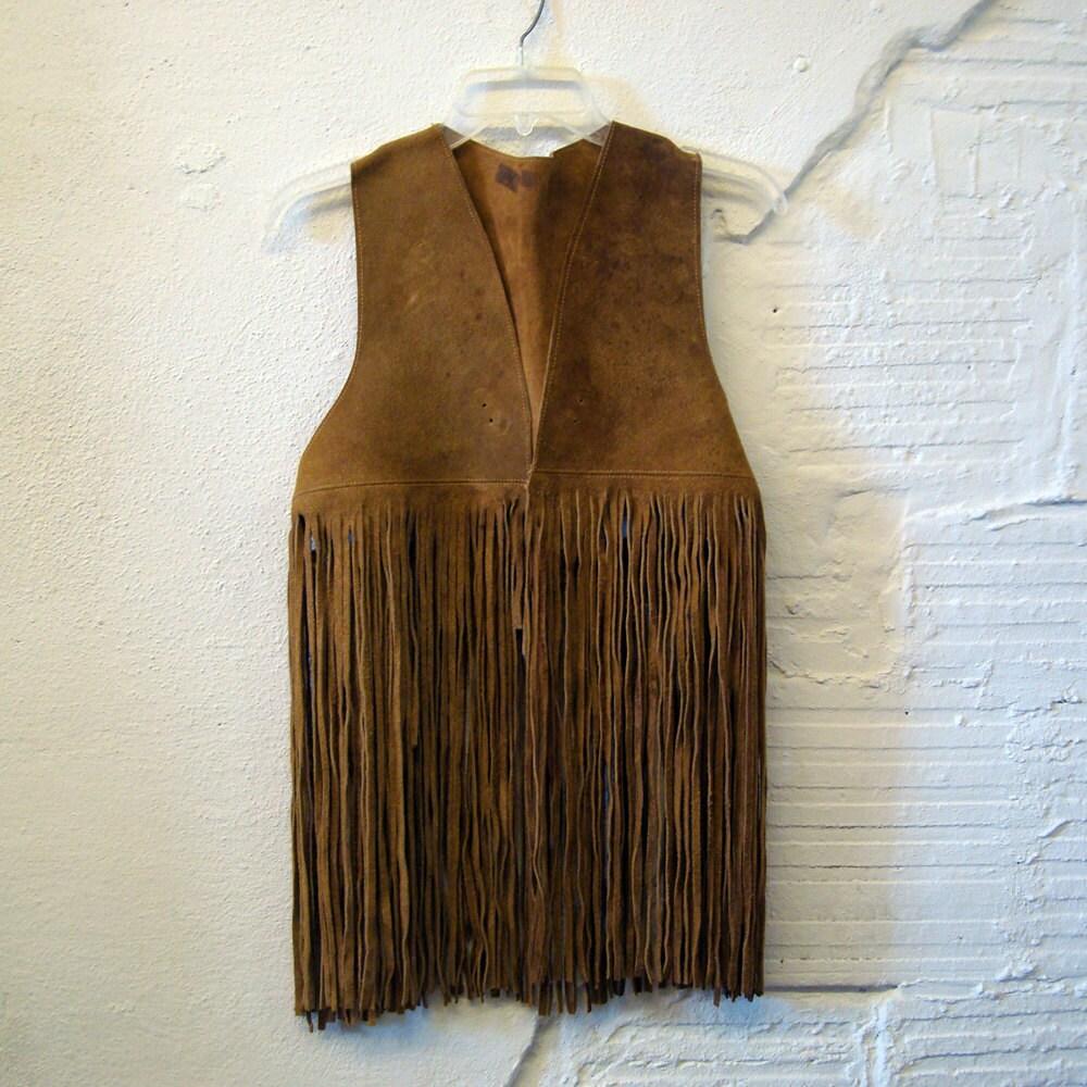 Suede Fringe Vest Vintage 1960s Hippie Long Tan Brown Leather