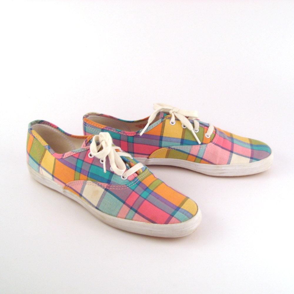 keds canvas sneakers vintage 1980s chions pastel plaid