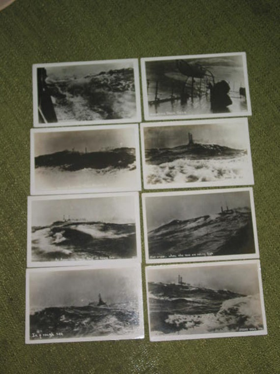 Collection of 8  US Navy WWII Battleship Man-O-War at sea Atlantic Ocean Shaffer picture photo postcard black & white photograph postcards