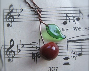 "Glass Cherry Necklace with Leaf ""Door County Rockabilly"" by Bullseyebeads"