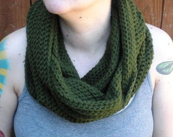 SALE, Olive Green Cowl Snood, crochet neckwarmer scarf, ready to ship.