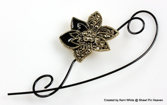 Edelweiss Beaded Shawl Pin