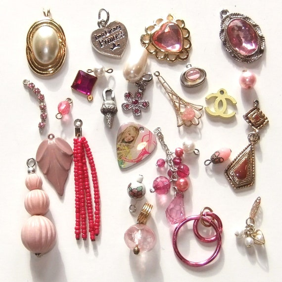 Princess charms lot, salvaged pink and pearl beads and pendants (SJ0030)
