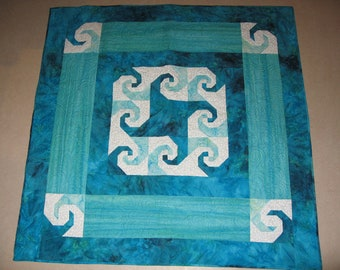 Handmade Batik Patchwork  Baby Quilt, wall hanging Teal, Caribbean Waves Quiltsy