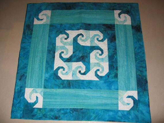 Handmade Batik Patchwork  Baby Quilt wall hanging Teal Caribbean Waves Quiltsy