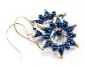 Metallic Blue and Gold Snowflake Beaded Earrings