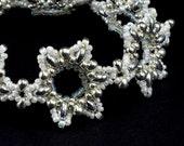 Snow White and Silver Snowflakes Beaded Bracelet