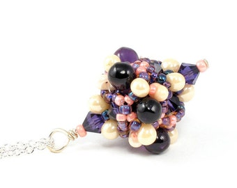 Handcrafted Purple and Cream Beaded Pendant