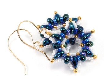 Metallic Blue and Gold Snowflake Beaded Earrings