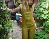 Olive Green Open Back Chic Linen Jumpsuit~Wide Leg Jumpsuit~Casual Jumpsuit~Jumpsuits Women~Sexy Jumpsuit~Plus Size Jumpsuit~Romper~