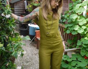 Wide Leg Olive Green Open Back Linen Sexy Jumpsuit Overalls|Plus Size Jumpsuit|Summer Jumpsuit|Sleeveless Jumpsuit|Casual Jumpsuit
