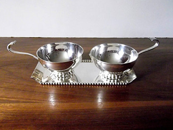 Vintage Three Crowns Silver Plate Cream and Sugar Set