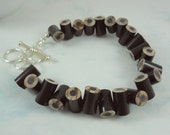Colored Pencil - Beaded Bracelet - Jewelry - Charm Bracelet - Teacher Gift - Teacher - Adjustable - Toggle - Dark Brown