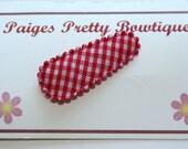 30mm Red Gingham Snap Clip-Baby Hair Clip-Toddler Hair Clip-Fine Hair Clip