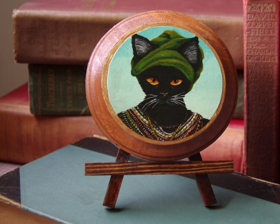 African Cat Art, Tribal Native Black Cat, Wooden Plaque, DISCONTINUED