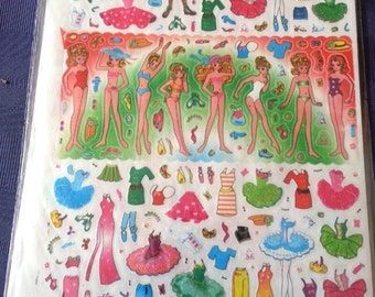 1978-82 Anime Dress-Up Doll Stickers JAPAN Mint GIRL BAND Design