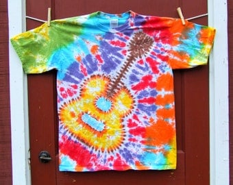 Guitar Tie Dye T-shirt - Woodstock Rainbow - Adult sizes S, M, L, 2XL - Made to Order