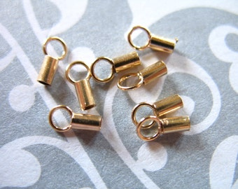 Shop Sale..14k Gold Filled Crimp Ends, 1 SET, for 0.60-1.2 mm ball, cable, stringing, beading, snake, satellite leather chains bulk
