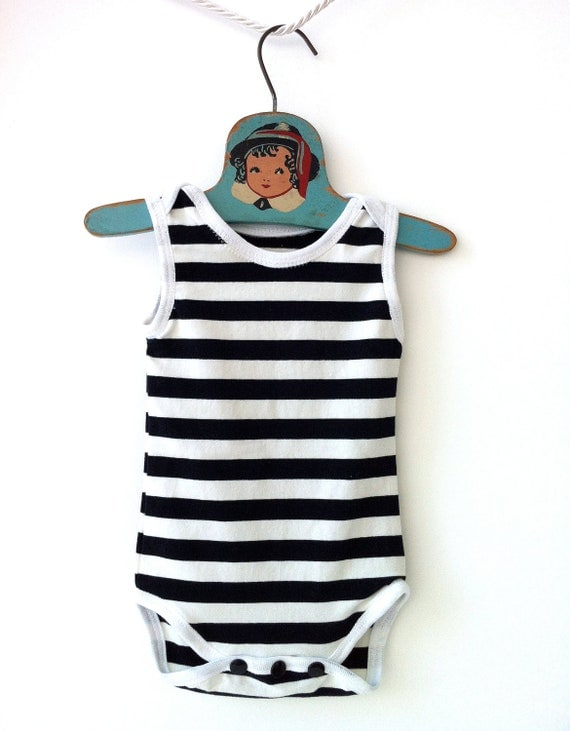 Baby Boy Unisex Striped Black and White Sleeveless Onesie Bodysuit
