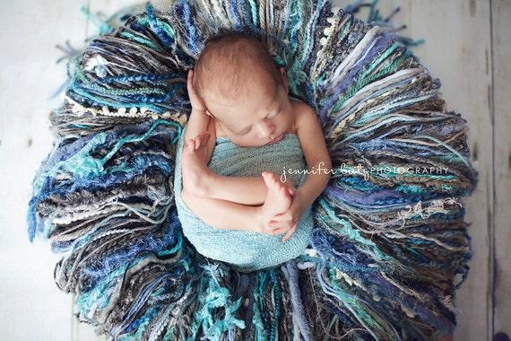 Large Storm Gray and Blue Yarn Fringe Newborn Photography Props - Newborn Prop, Photo Props, Blanket, Props, Baby Boy, Basket Stuffer