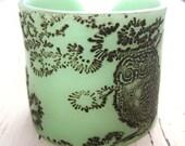SALE Jade Green Owl Cuff Bracelet, Owl Design, Handmade Jewelry by theshagbag on Etsy